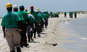 Green Shirts (BP) on Beach