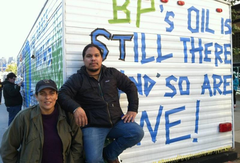 Cherri and Bryan with FEMA trailer