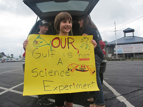 Mandy Birren at a rally of fishermen concerned about the safety of the Gulf. Photo: NRDC
